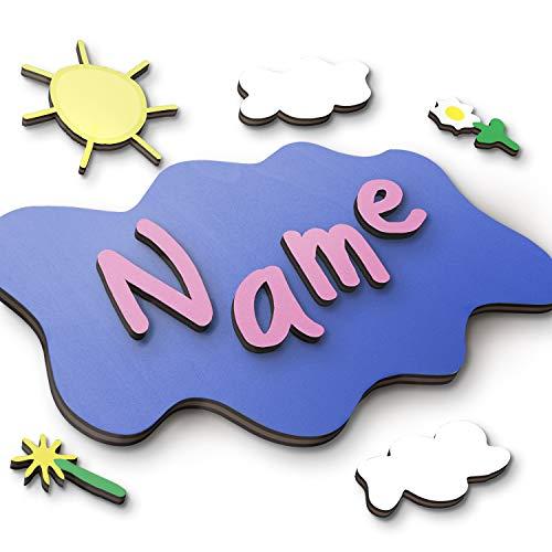Holzbuchstaben, Türbuchstaben aus Echtholz - personalisierbares Geschenk für Jungen und Mädchen als Taufgeschenk oder Geburtstagsgeschenk - inkl. Klebepads und in verschiedenen Kombinationen