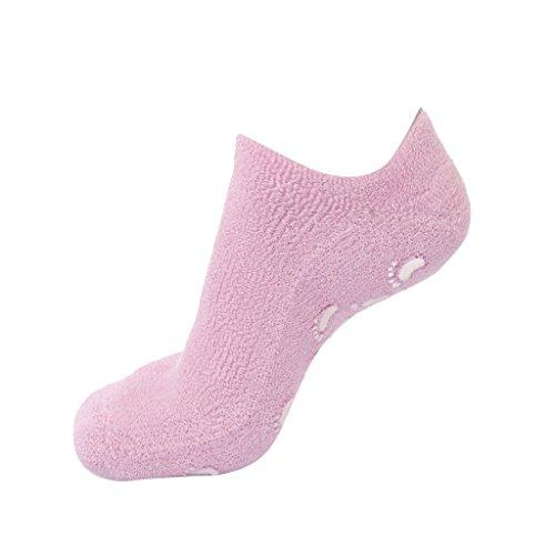 Calcetines hidratantes de silicona para el cuidado de la piel, color rosa