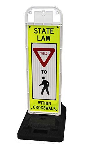 Yield to Pedestrian Sign for School Zone/Crosswalks - U-Frame & 32lb U-Base