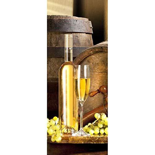 PYUK druif en champagne afbeelding muurschilderingen muursticker deur sticker behang aftrekplaatjes decoratie 95 x 215 cm.