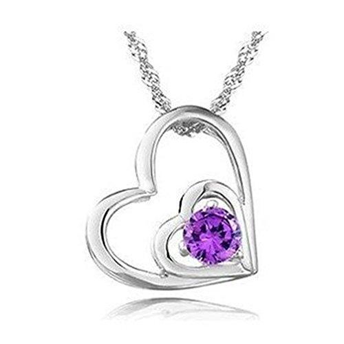 Peach hart design sieraden 925 sterling zilver verguld paars kristal mode ketting
