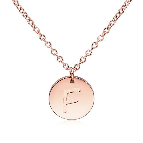Three Keys Jewelry F Initial Necklace Rose Gold Girls Tiny Tag Circle Stainless Steel Charm Disk Daughter Engraved Necklace for Women