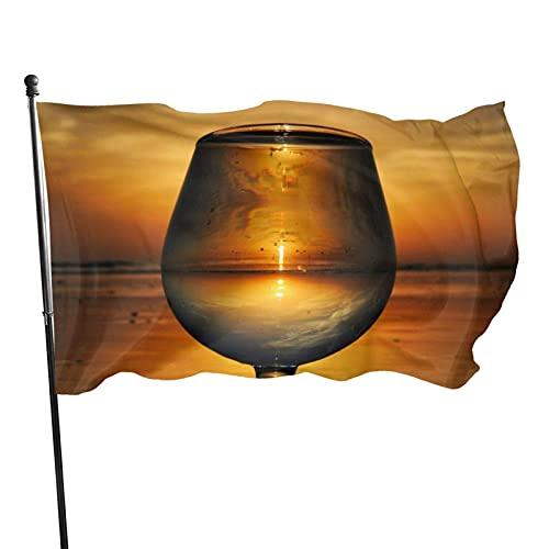 Bandera de jardín de arte de copa de vino hermosa Bandera de interior al aire libre 3 x 5 pies, banderas de playa duraderas y resistentes a la decoloración con encabezado, fácil de usar
