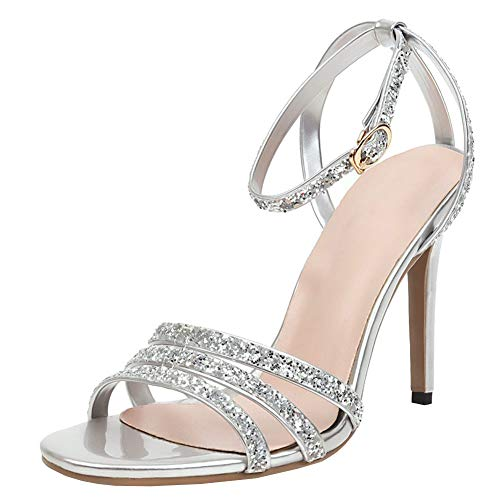 COCOLULU Damen Riemchensandaletten Glitzer High Heels Stilettos Strass Sandalen Offene Zehe Hochzeit Sommer Schuhe(EU Size 40, Silber)