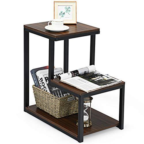 COSTWAY Table d'appoint à 3 Niveaux de Style Industriel Cadre en Acier Robuste 60 x 35 x 59,5 CM Surface avec Grain de Bois Bout de Canapé pour Salon,Chambre,Bureau