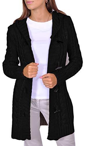 Damen Strick Jacke Mantel Pullover Neu mit Kapuze Beige Grau Warm (951) (S, Schwarz)