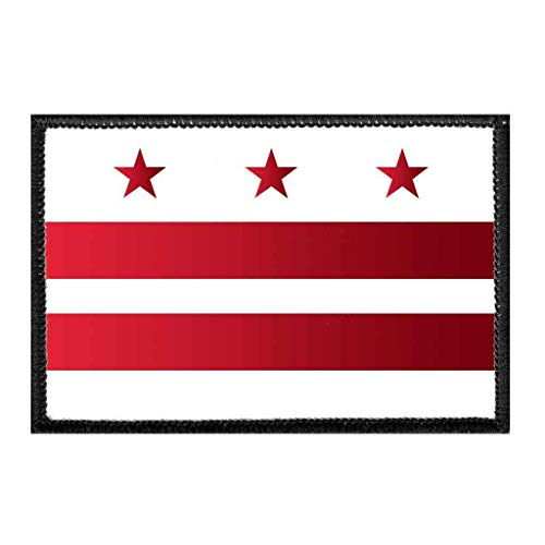 Washington D.C. City Flag - Color | Hook and Loop Attach for Hats, Jeans, Vest, Coat | 2x3 in | by Pull Patch