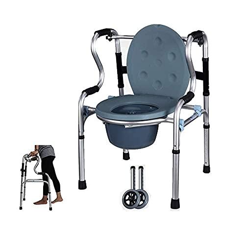 Verlassen Sie Sich auf gehenden Duschstuhl Toilettenstuhl Gehgestell Höhenverstellbare Klappbarer Leichter Aluminium Walker 2 Räder Rollator Mobiler Toilettenstuhl