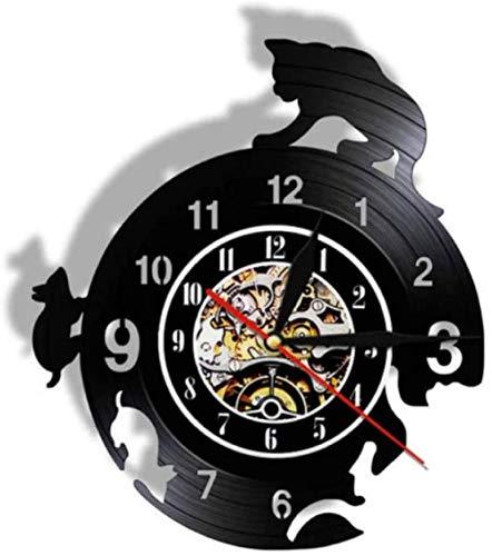 Reloj de pared de vinilo para ratón y gato, juego de vinilo para amantes de los hombres, mujeres, adolescentes y niños, regalos únicos, decoración de pared, obras de arte negro, reloj de 30 cm