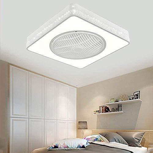 Ventilador de Techo Moderno para Interiores de 21.6 Pulgadas con Kit de Luz,96W,Lámparas de Techo Led Cuadradas de Montaje Empotrado Regulables con Control Remoto para Habitación de Niños/Sala De