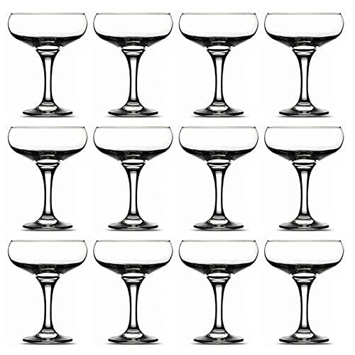 Pasabahce - Juego de 12 copas de cava, champán de cristal 27 cl. Set de copas, vasos vidrio champagne modelo Bistro, elegantes. Perfectas para celebraciones, fiestas, aptas para lavavajillas