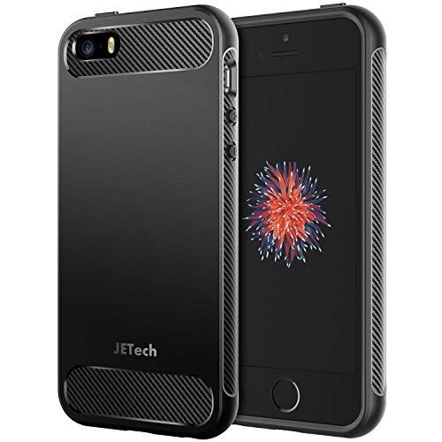 JETech Funda Compatible iPhone SE (2016 Modelo), iPhone 5s y iPhone 5, Carcasa con Shock-Absorción y Diseño de Fibra de Carbon, Negro