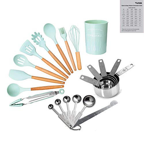 Preisvergleich Produktbild 22-Teiliges Küchengeschirr Kochgeschirr Set,  Yizish Silikon-Kochgeschirr mit Messbechern aus Edelstahl und Messlöffel