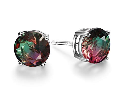 Angol Sterling Silver Tourmaline Stud Earrings, 925 Stud Colorful Earrings Hypoallergenic Multicolor 6 7 8mm Round Solitaire Stud for Women Teens
