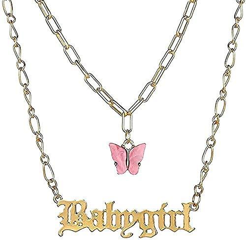 Yiffshunl Collar Personalizar Collares con Letras de Nombre para Mujeres Cadena de Mariposa en Capas Número de Palabras Collar Colgante Joyería Vintage Regalo Niñas Niños Collares