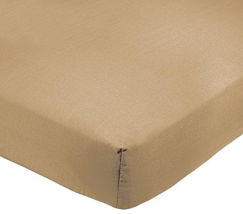 AmazonBasics - Lenzuolo con angoli, Policotone 200 fili, sabbia, 160 x 200 x 30 cm