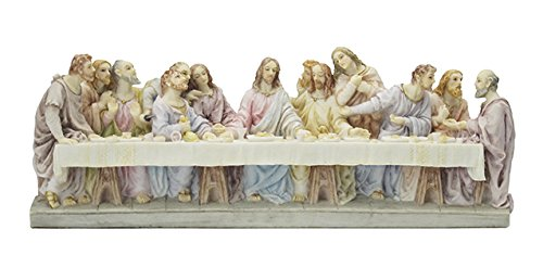 Gesù ultima cena 22,9 cm (23 cm) Wide Veronese statua resina dipinta a mano in scatola Christ with Disciples