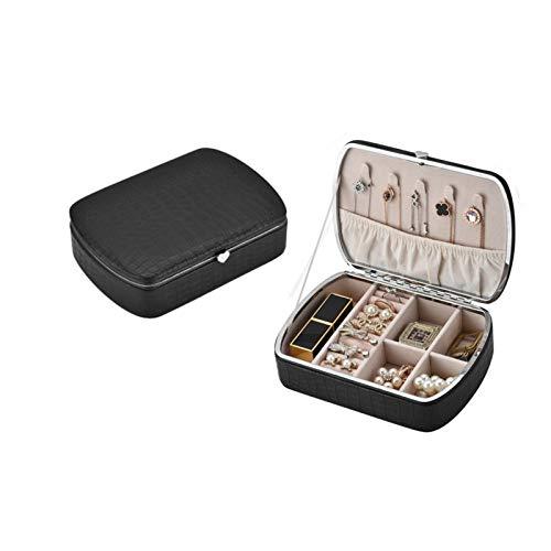 Yunly Estuche de cuero sintético para joyas, caja de almacenamiento para anillos, pendientes, collares, pulseras, organizador de regalos (negro)