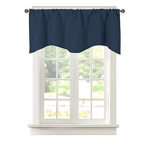Popuid Rural Valances Curtains Topper for Small Window Rod Pocket Decorative Valance Kitchen Kids Girls Room 52x18 Inch (Navy, 52)