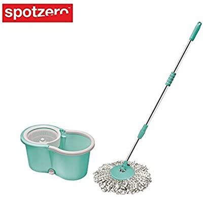 Spotzero From Milton Plastic Smart Spin Bucket Mop for 360 Degree Cleaning (Standard Size, Aqua Green) -Refill 2 Pieces