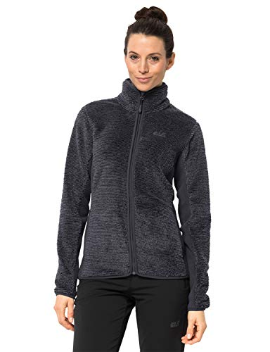 Jack Wolfskin Damen Pine Leaf Jacket Women Fleecejacke Atmungsaktiv, Ebony Stripes, XL