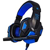 DishyKooker Wired Gaming Headset Headphone for PS-4 X-Box One Nin-tend Swi-tcH i-Pad PC Blue Electronic Products for Gifts