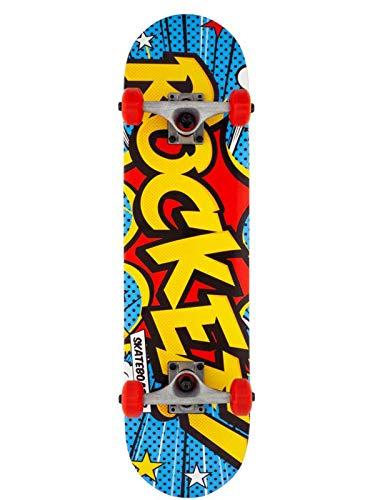 Rocket Complete Popart Mini Skateboard Unisex Adulto, Multicolore (Multi), 7,5'