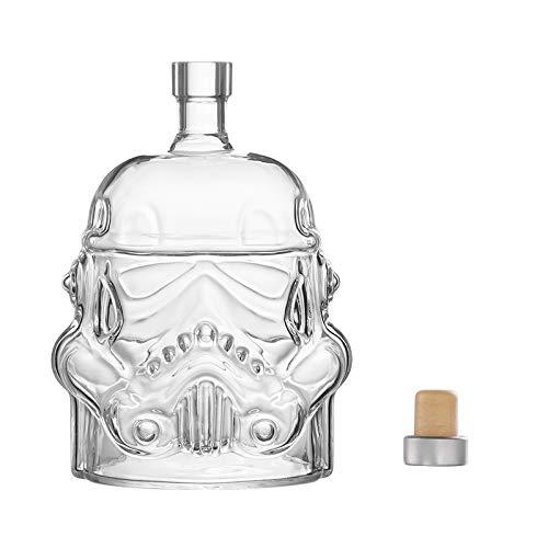 Bkuter bottle Kreative Whiskykaraffe transparent für Whisky, Wodka und Wein, 1 x Stormtrooper Flasche (750 ml) und Stormtrooper 2 Gläser (8,5 x 9,5 x 9 cm)