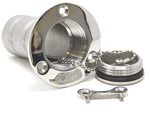 Mareteam® Einfüllstutzen Edelstahl A4-AISI 316 Wasser für 38 mm Schlauch
