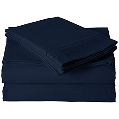 Best Seller Luxurious Bed Sheets Set on Amazon! Elegant Comfort1500 Thread Count Wrinkle,Fade and Stain Resistant 4-Piece Bed Sheet set, Deep Pocket, HypoAllergenic - Queen Navy Blue