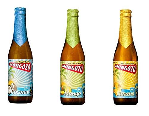 3 Flaschen Mongozo Banana, Mango, Coconut Exotic Beer 3,6% Vol.a 330ml inc. 0.24€ MEHRWEG Pfand Bier + Kokusnuss