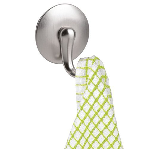 mDesign AFFIXX, Peel-and-Stick Adhesive Storage Hook for Dish Hand Towels, Keys, Coats, Hats - Set of 3, Brushed Nickel