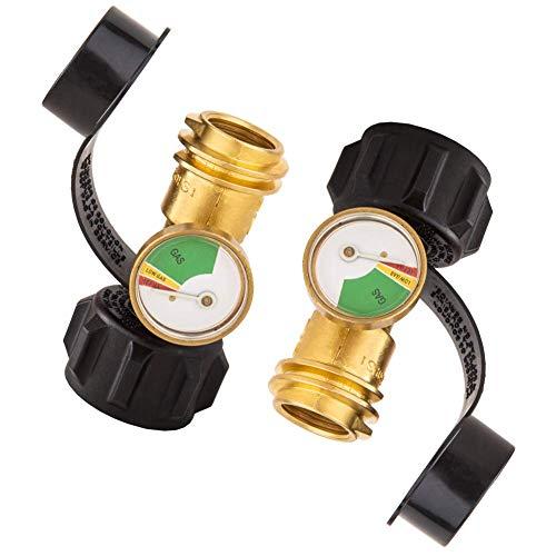 Medidor de presión de gas con conexión tipo 1, indicador de nivel de propano mejorado para RV, camper, cilindro, calentador, parrilla de gas barbacoa y más aparatos