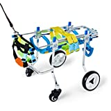 Glzcyoo Four Wheels Adjustable Dog Wheelchair, Cart,6 Sizes for Full Body Support, Fore-Leg Rehabilitation, Free Belly Band for Spine Protection, Free Leash (Color : XXS)