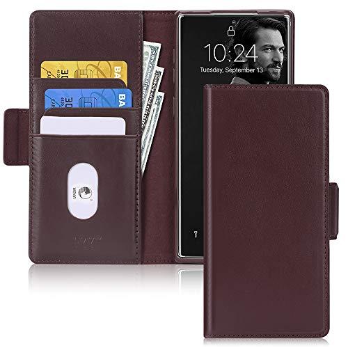 FYY Samsung Note 10 Plus 5G Hülle,Samsung Galaxy Note 10 Plus Leder Hülle mit [Kartenfach][Magnetverschluss] [Standfunktion][RFID Blocker] Schutzhülle für Galaxy Note 10 Plus Handtasche-Brown