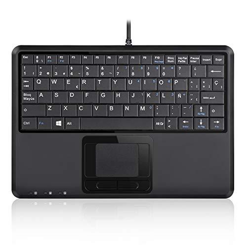 Perixx PERIBOARD-510H Plus - Tastiera USB con Cavo, con Touch Multi gesti Integrato e 2 ingressi USB, Tasti silenziosi con meccanismo a Forbice X, Dim