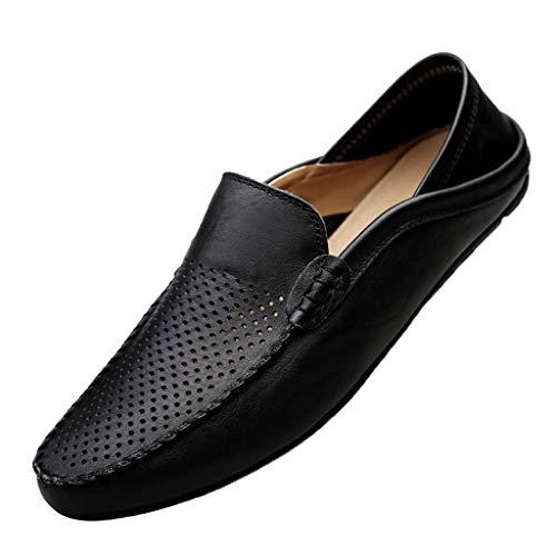 YWLINK Mocasines Hombre Hueco Antideslizante Transpirable Zapatos De ConduccióN Elegantes Y Ocasionales CláSicos Zapatillas TamañO Grande CóModo Fiesta Corriendo Regalo (Negro, Numeric_46)