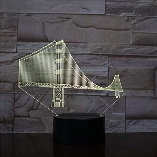 Solo 1 pieza Golden Gate Bridge USB 3D LED luz nocturna Multicolor RGB Festival Regalo Edificios famosos Luces decorativas Lámpara de escritorio dormitorio
