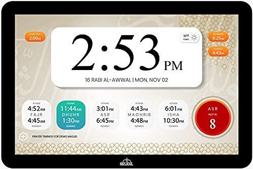 Masjidal Next Gen 10' Athan Clock Frame-Sync with local Masjid, Quran Dikhr Hadith Wall Muslim...