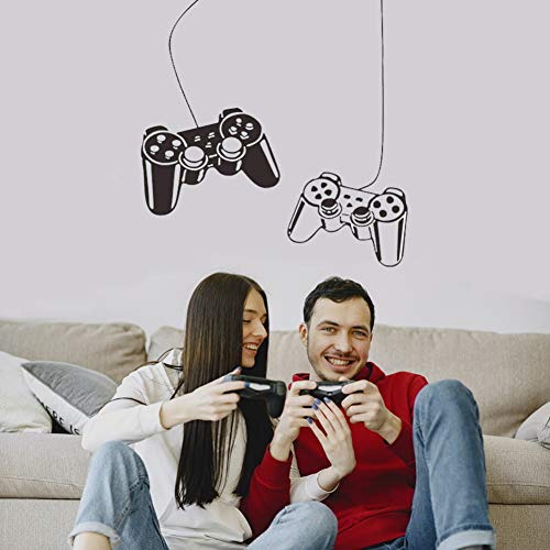 Gamer Decal, Video Game Controllers Wall Stickers, DIY Art Mural Player Decor, Vinyl Poster Lettering Joystick Wallpaper for Kids Boys Playroom Bedroom Nursery Living Room, Home Decoration