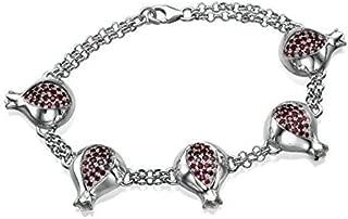 Baltinester Jewish Jewelry Silver Pomegranate Garnet Judaica Israeli Jewelry Bracelet for women