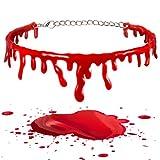 2 Pezzi Collana di Sangue di Halloween Girocollo a Goccia di Sangue da Vampiro Collana di Sangue Spaventoso Catena di Sangue Rosso Gocciolante Halloween Costumi Cosplay Gioielli di Moda Donna Joke