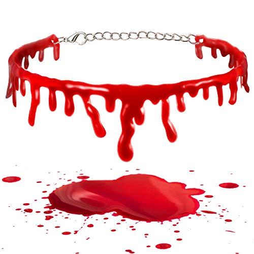 2 Piezas Collar de Sangre de Halloween Gargantilla de Goteo de Sangre de Vampiro Collar de Sangre de Horror Cadena de Sangre Roja Goteando Disfraces Fiesta Halloween Cosplay Joyera Moda Mujer