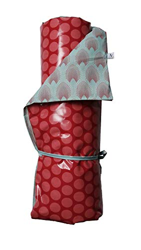 A.U MAISON Picknickdecke SUPER DOTS 130x170cm mit großen Punkten rot blau