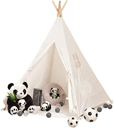 luckycao Kids Tent Play Tent Game house,Teepee Toys for Girls/Boys Indoor Outdoor, Natural Cotton Canvas Indian Tipi Tent With windows