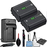 Sony NP-FZ100 Rechargeable Lithium-Ion Battery 2280mAh (2 Pack) + Travel Charger & Deluxe Cleaning Accessories