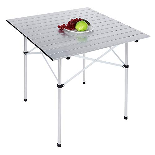 SUPER DEAL Square Folding Card Table, Indoor Outdoor Portable Camping Picnic Aluminum Table
