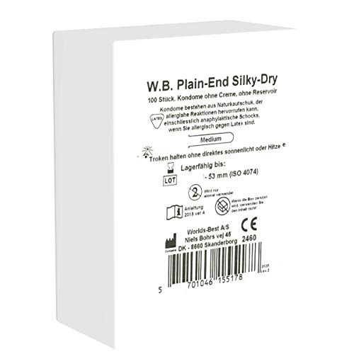 Plain End Silky Dry 100 Kondome Maxipack, ohne Reservoir, ohne Gleitmittel, 53mm Breite