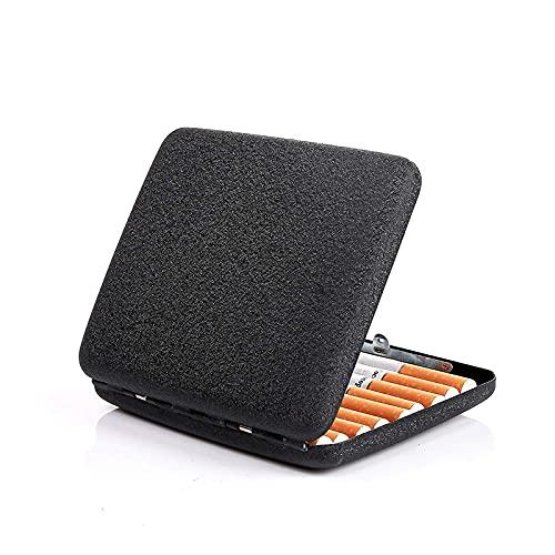 YUEKUN Étui à cigarettes en métal givré noir mat rétro pour 20 cigarettes normales, taille 95 x 80 x 20 mm, cadeau de Saint-Valentin