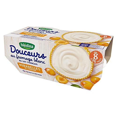Blédina, Dessert au fromage blanc pour bébé, Dès 8 Mois, Mirabelles de Lorraine, 1x(4x100 g)